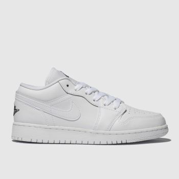 nike jordan white & black air jordan 1 low trainers youth