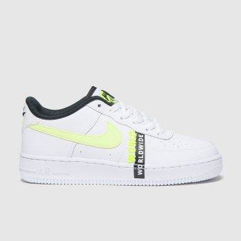 Nike White & Green Air Force 1 Lv8 1 Unisex Youth#