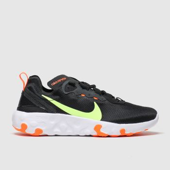 nike black & green renew element 55 trainers youth