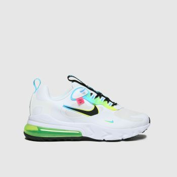Nike White & Pl Blue Air Max 270 React Unisex Youth
