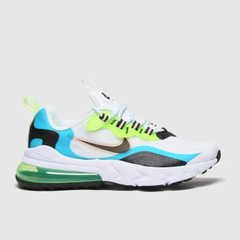 Nike White & Green Air Max 270 React Se Unisex Youth#