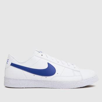 Nike White & Blue Blazer Low Unisex Youth