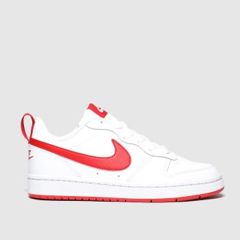 nike white & red court borough low 2 trainers youth