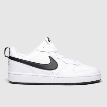 Nike White & Black Court Borough 2 Bg Unisex Youth