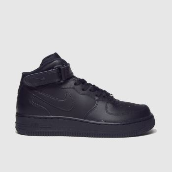 Nike Black Air Force 1 Mid Unisex Youth#