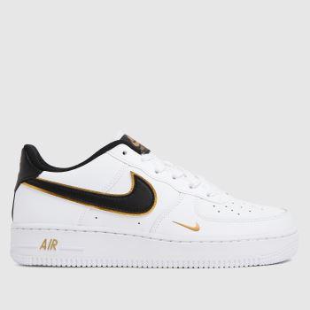Nike White & Black Air Force 1 Lv8 Unisex Youth