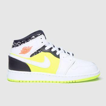 Nike Jordan White & Orange Air Jordan 1 Mid c2namevalue::Unisex Youth
