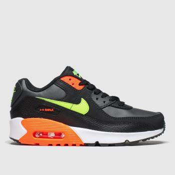 nike black & orange air max 90 trainers youth