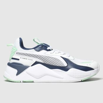 puma white & navy rs-x joy trainers youth