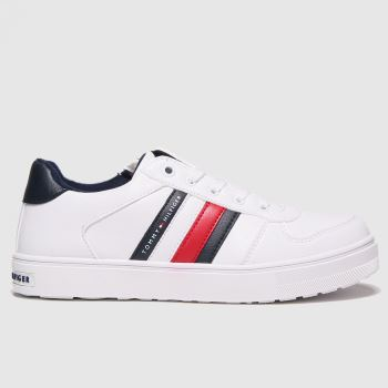 Tommy Hilfiger White & Navy Low Cut Lace-up Sneaker Unisex Youth#