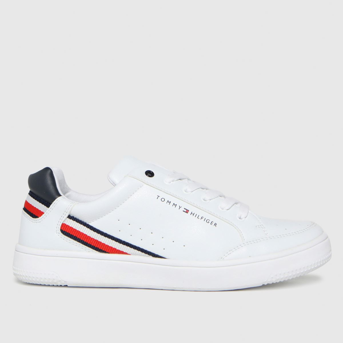 Tommy Hilfiger White & Navy Low Cut Lace-up Sneaker Trainers You