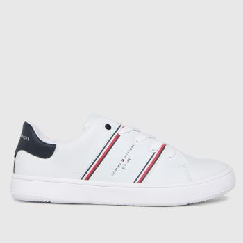 Tommy Hilfiger White & Red Low Cut Lace-up Sneaker Unisex Youth