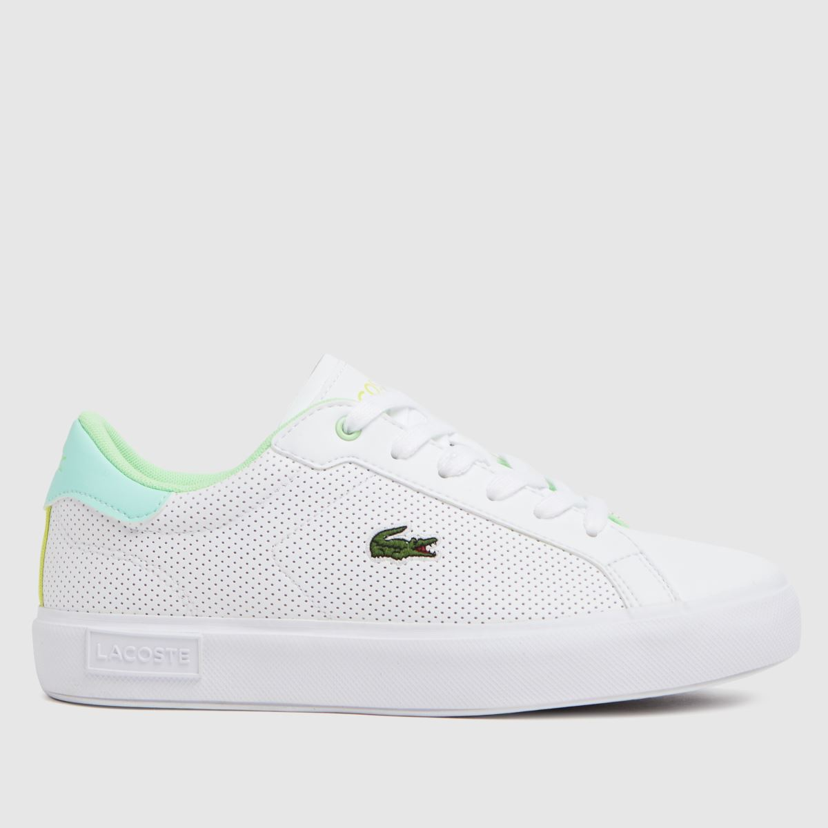 Lacoste White & Green Powercourt Trainers Youth