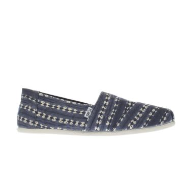Toms Blue Seasonal Classic Batik Stripe Mens Shoes