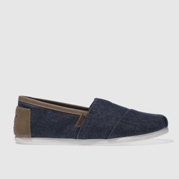 Toms Navy & Brown Alpargata Trim Mens Shoes