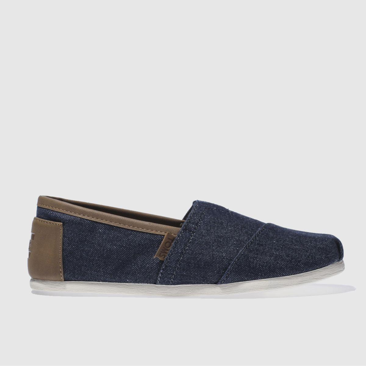 Toms Navy & Brown Alpargata Trim Shoes