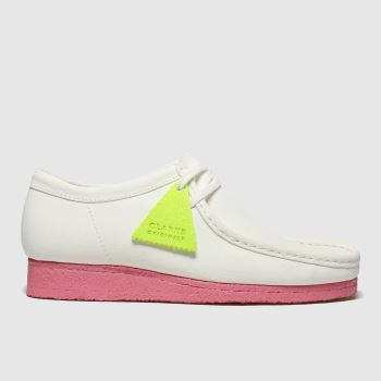Clarks Originals White & Pink Wallabee Mens Shoes