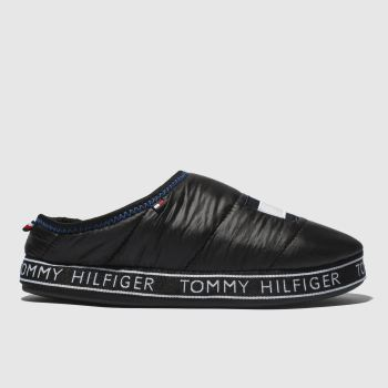 Tommy Hilfiger Black FLAG PATCH DOWN Slippers