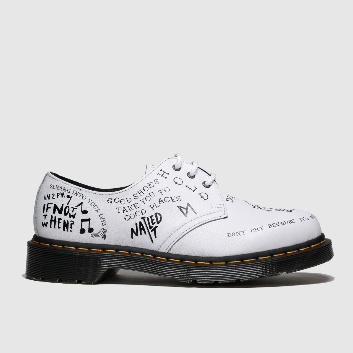 Dr Martens White & Black 1461 Scribble Shoes