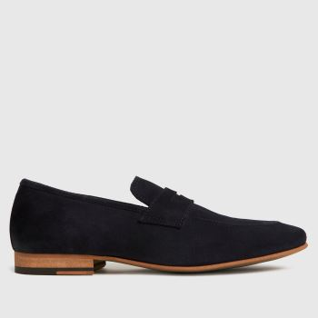 schuh Navy Ozzie Suede Saddle Loafer Mens Shoes