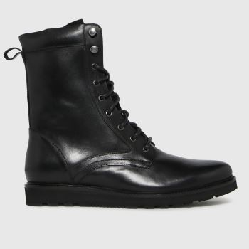schuh Black Daley Leather Chunky Lace Up Mens Boots