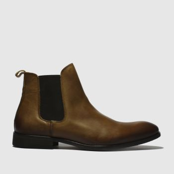 schuh Tan Khan Chelsea Leather Mens Boots#