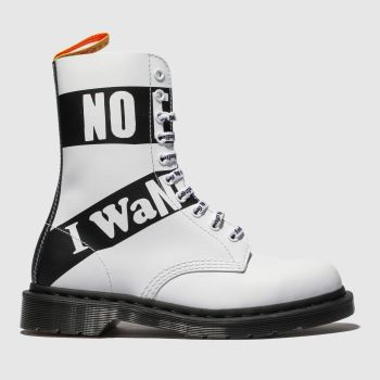 Dr Martens White & Black 1490 10 Eye X Sex Pistols Mens Boots