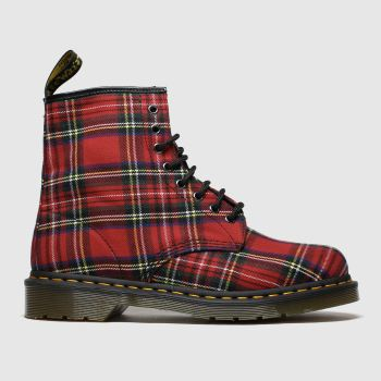 Dr Martens Red 8 Eye Tartan Canvas Mens Boots