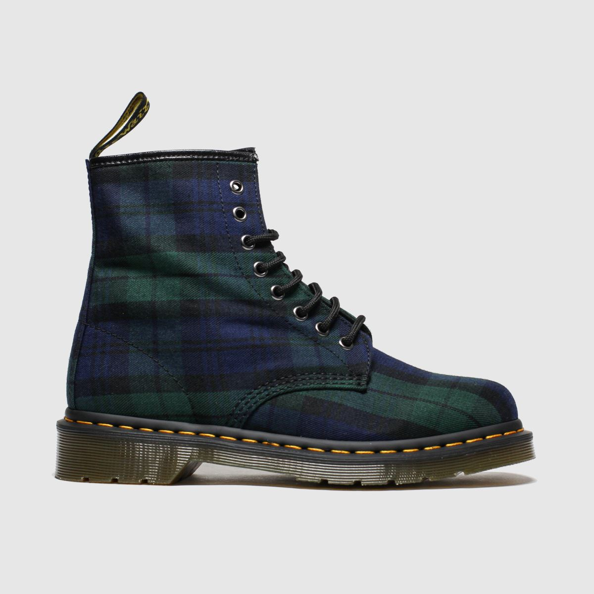 Dr Martens Navy & Green 8 Eye Tartan Canvas Boots