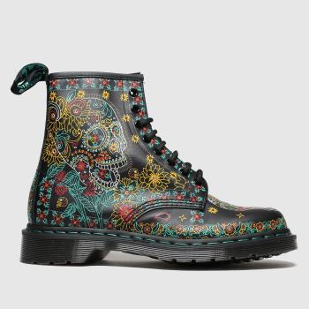 Dr Martens Black & Yellow 1460 Skull Mens Boots