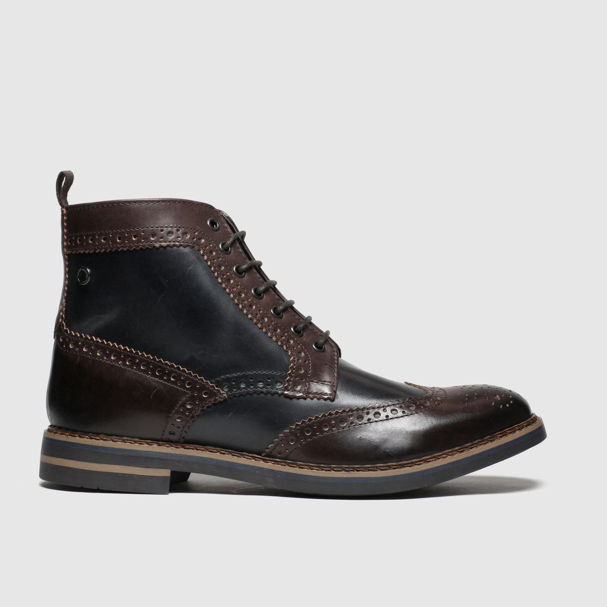 Base London Brown & Navy Banner Boots