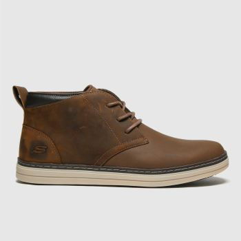 SKECHERS Brown Heston Regano Mens Boots#