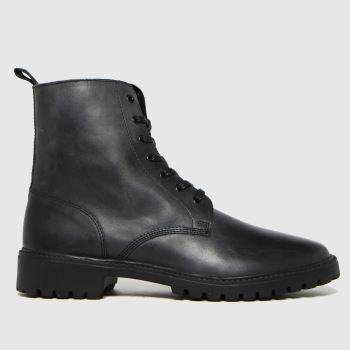 schuh Black Ronan Leather Lace Up Mens Boots
