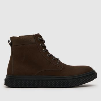 schuh Brown Miles Nylon Cuff Lace Up Mens Boots