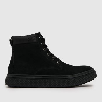 schuh Black Miles Nylon Cuff Lace Up Mens Boots