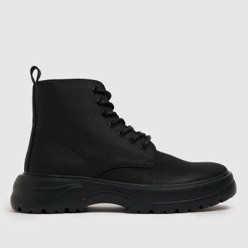 schuh Black Ben Moulded Unit Lace Mens Boots