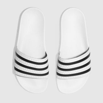 Adidas White & Black Adilette Slide Mens Sandals