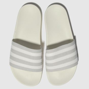 Adidas White & grey Adilette Mens Sandals