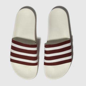 Adidas White & Burgundy Adilette Mens Sandals