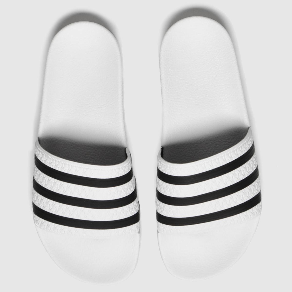 Adidas White & Black Adi Adilette Sandals