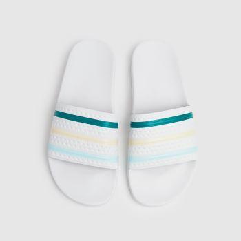 adidas White & Green Adilette Mens Sandals