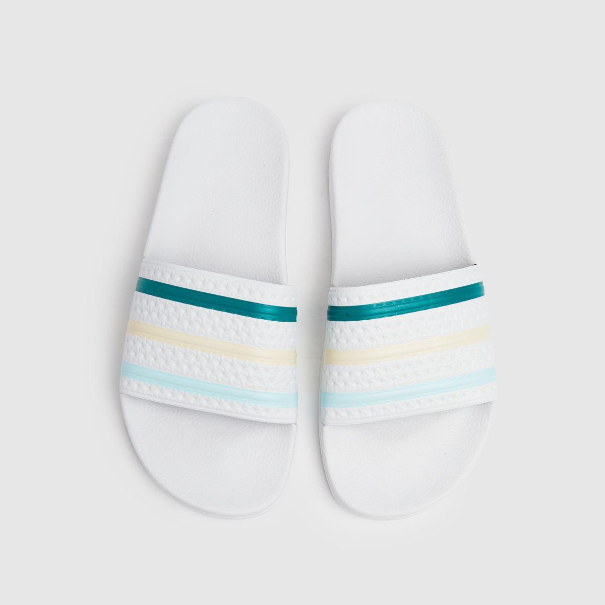Adidas White & Green Adilette Sandals