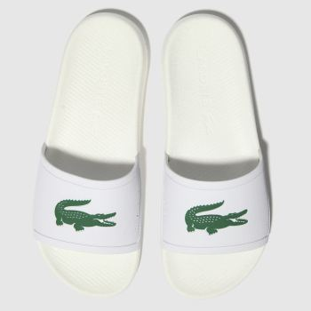 Lacoste White & Green Croco Slide c2namevalue::Mens Sandals