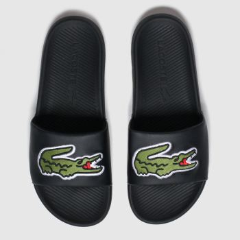 Lacoste Black & Green Croco Slide Sandals