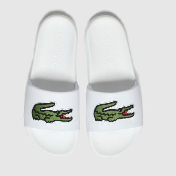 Lacoste White & Green Croco Slide Mens Sandals