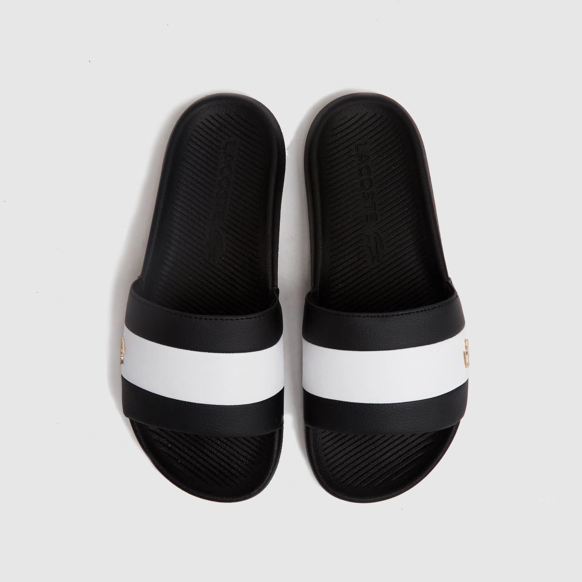 Lacoste Black & White Croco Slide Trainers
