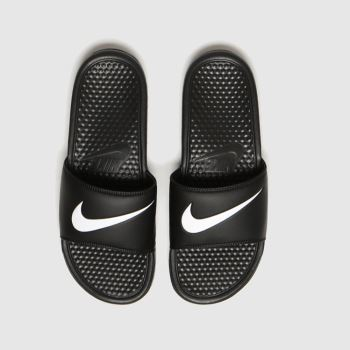 Nike Black & White Benassi Swoosh Mens Sandals