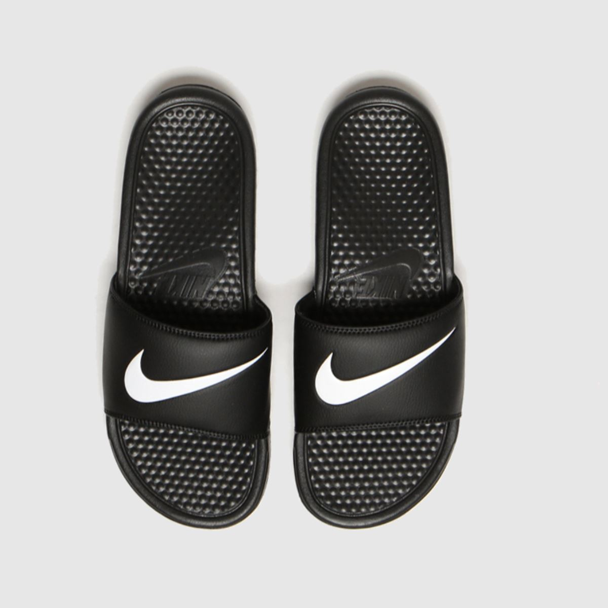 Nike Black & White Benassi Swoosh Sandals