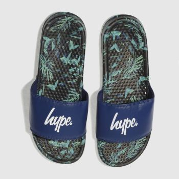 Hype Navy Jungle Sliders Mens Sandals