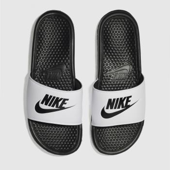 Nike White & Black Benassi Slide Sandals
